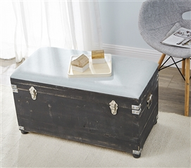 Central Style® Cushion Seater Trunk - Dark Gray with Bleached Aqua Cushion