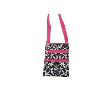 Pink Trim Damask 3 Zipper Passport Bag