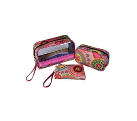 Yellow/ Pink Floral College Style Cosmetic Case for Girls - 3 Piece