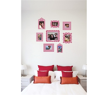 Stickr Frames - Set of 8 Pink - Gives your wall pics some fun college decor