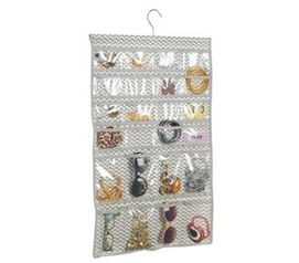 Gray Chevron Jewelry Organizer - 48 Pockets
