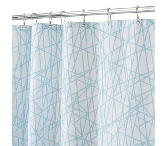 Aqua White Abstract Shower Curtain