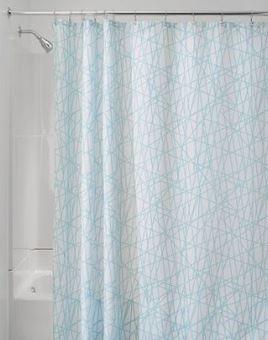 Aqua White Abstract Shower Curtain