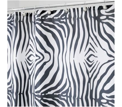 Printed - Zebra Shower Curtain - Dorm Bathroom