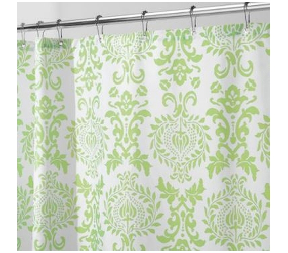Damask Lime Dorm Shower Curtain Essentials Must Have Items