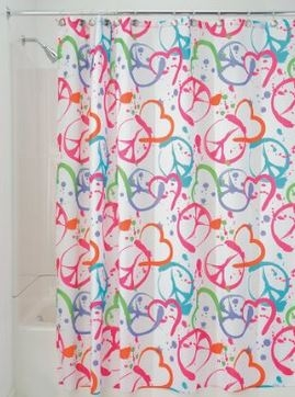 Groovy Peace And Hearts Shower Curtain
