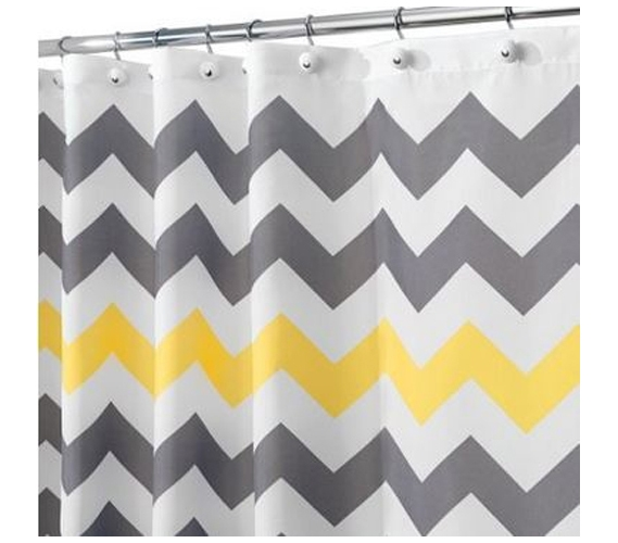 Chevron Gray Yellow Shower Curtain Dorm Room Decor Essentials