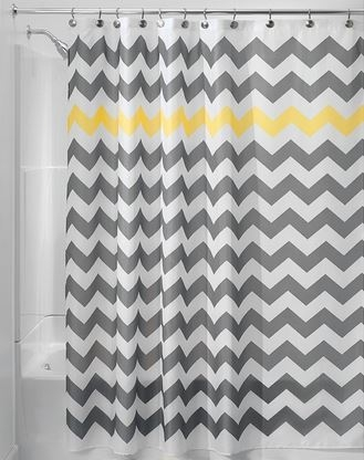 Chevron Gray Yellow Shower Curtain