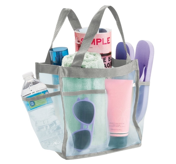 Shower Caddy Tote dorm shower caddy tote - mint and gray