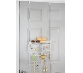 Over The Door Jewelry and Accessory Organizer - White