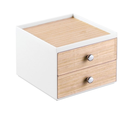 2 Drawer Light Wood and White Cosmetic Organizer