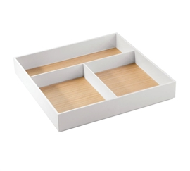 3 Compartment Light Wood and White Cosmetic Organizer