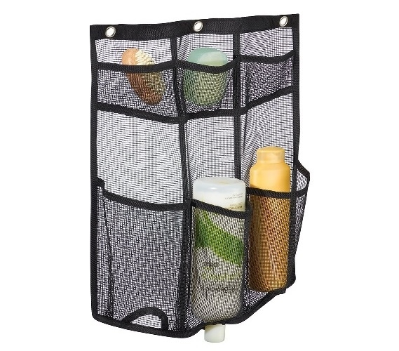 Mesh Storage Hanging Shower Caddy - Black Dorm Shower Caddy
