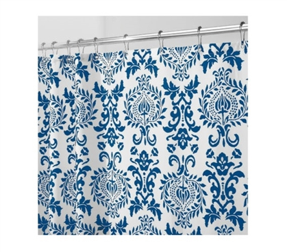 Damask Navy Fabric Shower Curtain Dorm Essentials Must Have Dorm Items