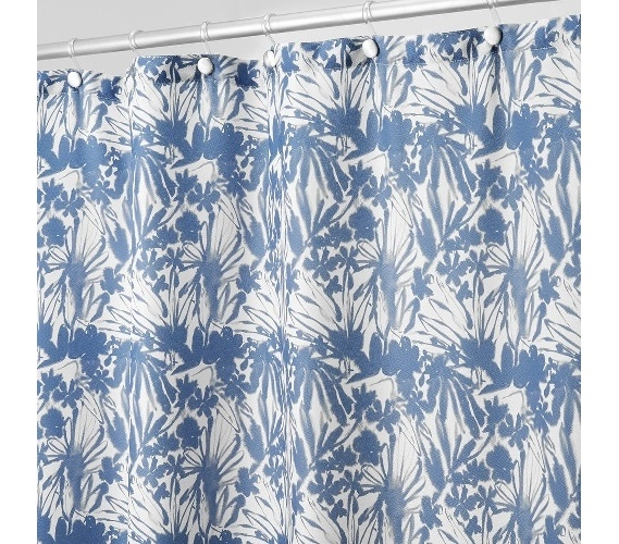 Floral Batik Fabric Shower Curtain