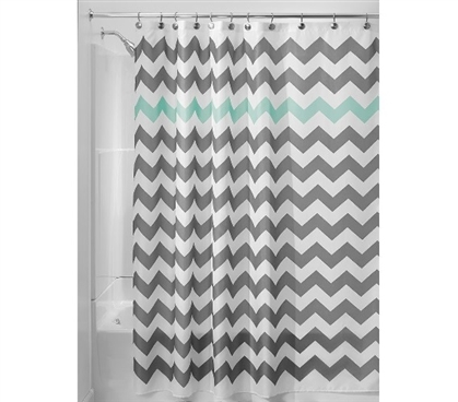 Chevron Fabric Shower Curtain - Gray/Aruba Dorm Essentials Dorm Room Decor