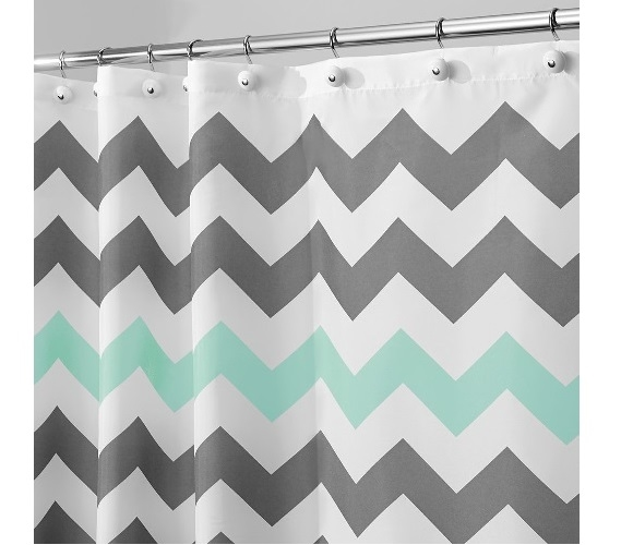 Chevron Fabric Shower Curtain   Gray/Aruba