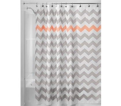 Chevron Fabric Shower Curtain - Light Gray/Coral Dorm Essentials