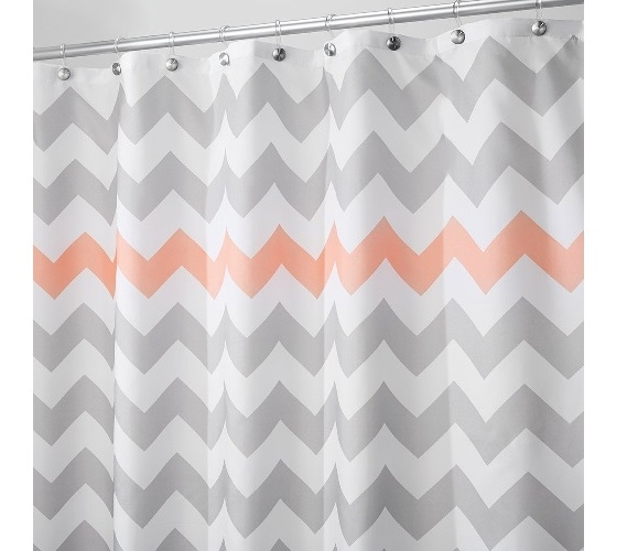 grey and coral shower curtain.  Chevron Fabric Shower Curtain Light Gray Coral