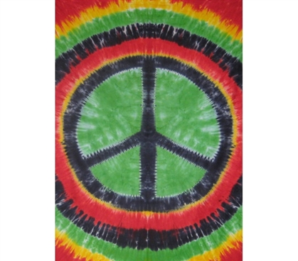 Rasta Peace Sign Tapestry College bed accessory