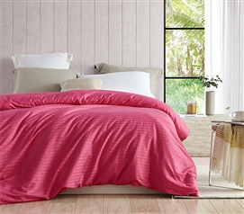 Cheap College Essentials - College Ave Twin XL 100% Cotton Duvet Cover - Strawberry Pink