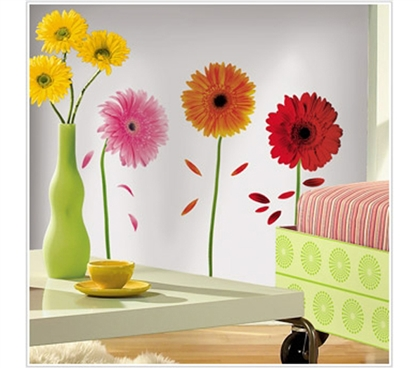Bring Life Into Your Dorm With Small Gerber Daisies - Peel N Stick Dorm Decor -