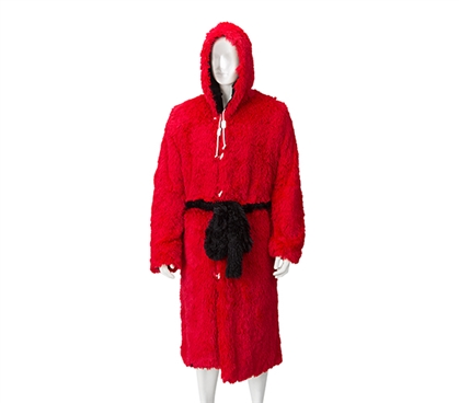 Red Bath Robe Tailgate Outfit Ideas Cold Weather Coat Furry Robe for Guys College Dorm Ideas