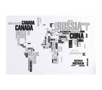 Xl World Map Word Wall Art Peel N Stick Wall Decor For