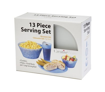 13 Piece Dorm Eating Set - Safer Than Porcelain Plates