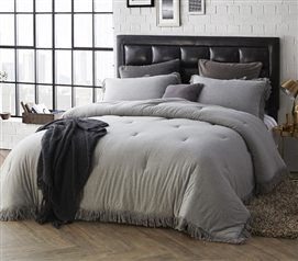 Extra Long Twin Comforter Stylish Jersey Knit Twin XL Bedding with Textured Edging