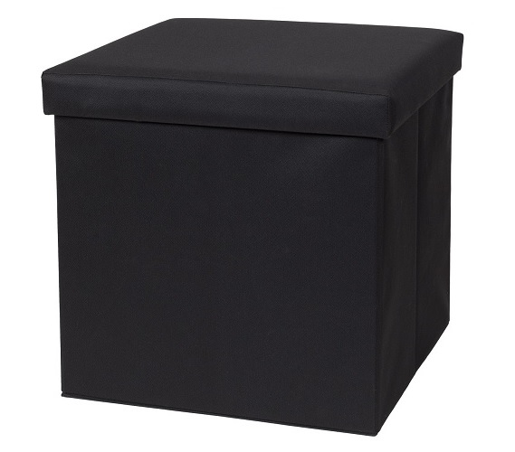 Fold N Store Collapsible Ottoman - Black only - Cheap College Storage - Fold N Store Collapsible Ottoman - Black Only