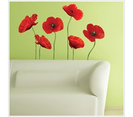 Poppies at Play - Peel N Stick Dorm Decor - College Essentials For Students