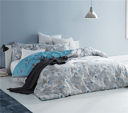 Extra Long Twin Comforter Gray and Aqua Flowers College Bedding