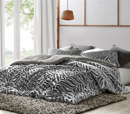 Primal Zebra - Coma Inducer Twin XL Duvet Cover - Silver Black