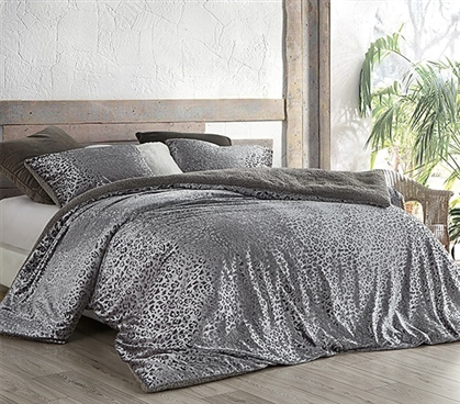 Primal Leopard - Coma Inducer Twin XL Comforter - Silver Black