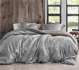 Primal Leopard - Coma Inducer Twin XL Duvet Cover - Silver Black