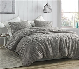 Teddy Stitch - Coma Inducer Twin XL Comforter - Gray and White Embroidery