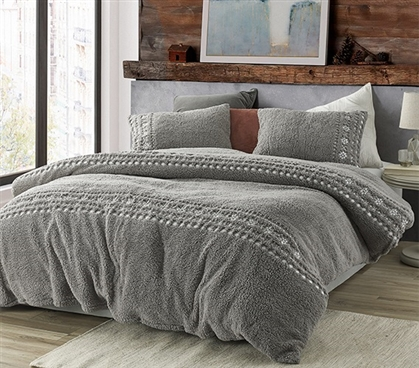 Teddy Stitch - Coma Inducer Twin XL Duvet Cover - Gray and White Embroidery