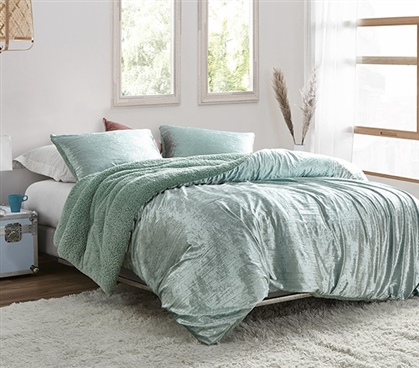 Velvet Crush - Coma Inducer Twin XL Comforter - Crinkle Iced Green