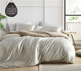Velvet Crush - Coma Inducer Twin XL Duvet Cover - Crinkle Iced Almond
