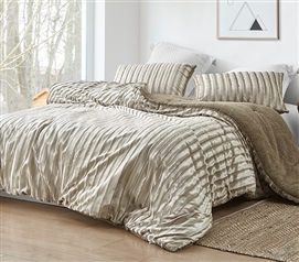 Velvet Crush - Coma Inducer Twin XL Comforter - Ridged Silvery Beige