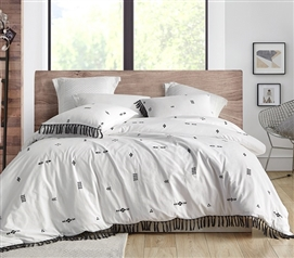 Topaz Textured Twin XL Comforter - White with Dark Gray Accent