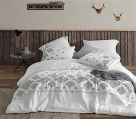 Phineas Gray Embroidered Twin XL Duvet Cover