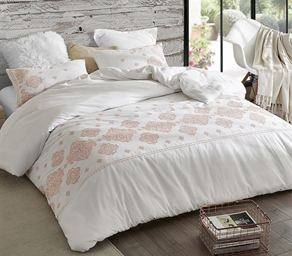 Phineas Coral Embroidered Twin XL Duvet Cover