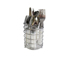 Durable 20PC Plastic Handle Flatware Set with Caddy - Necessary For Dorm Meals