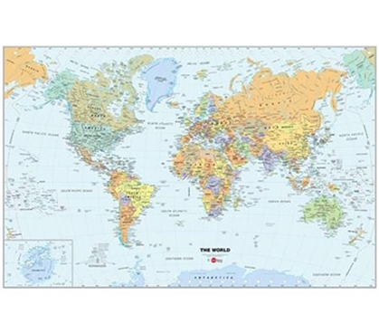 World Map - Peel N Stick Dorm Decor College Wall Accent