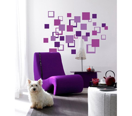 Purple Square Pattern Wall Art - Peel N Stick - Decorate Your Dorm Room