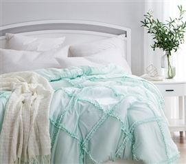 Hint of Mint Gathered Ruffles - Handcrafted Series  - Twin XL Comforter