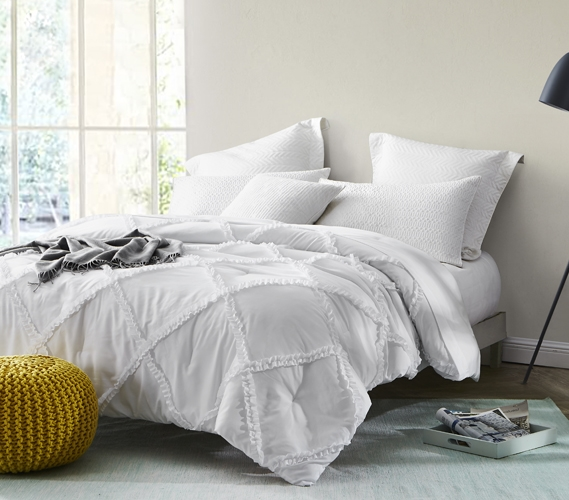 White Gathered Ruffles Handcrafted Series Twin Xl Comforter