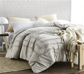 Silver Birch Border Ruffles - Handcrafted Series  - Twin XL Comforter